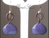 Purple - Enameled Copper Dangle Earrings