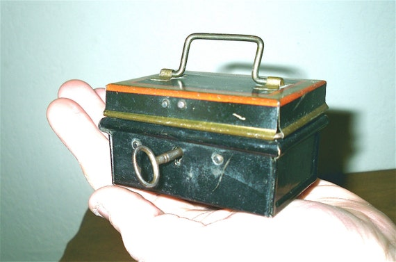 Antique CHAD VALLEY miniature Cash Box Coin Bank with key