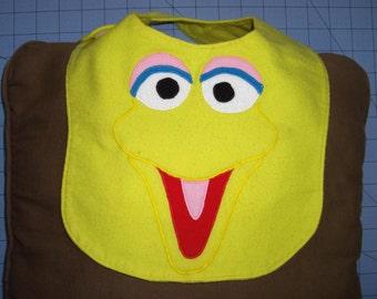 Big Bird Sesame Street Flannel Baby Bib Made to Order