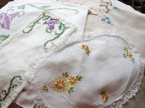 RESERVED FOR JILL - Vintage Embroidered Linens Assortment - Nine Pieces in All