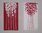 Mini Reds 2 piece 5x9 Original Paintings