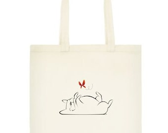 French Bulldog with butterfly canvas tote