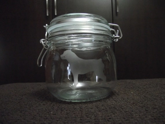 Rottweiler etched jar with lid