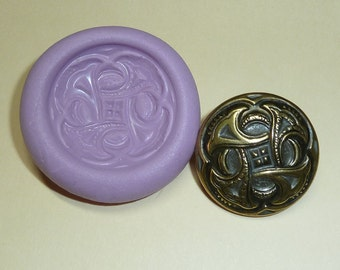 Antique button mold- flexible silicone push mold, PMC, Art Clay Silver, fimo, Sculpey, jewelry mold C6