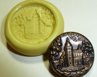 Antique button mold- Castle, flexible silicone push mold, PMC, Art Clay Silver, fimo, Sculpey, jewelry mold T4