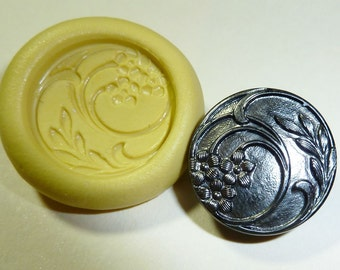 Antique button mold- flowers, floral, flexible silicone push mold, PMC, Art Clay Silver, fimo, Sculpey, jewelry mold P8