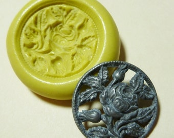 Antique button mold- Rose, rosebuds, flexible silicone push mold, PMC, Art Clay Silver, fimo, Sculpey, jewelry mold D20