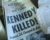 5 historic heirloom KENNEDY ASSASSINATION newspaper collection