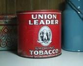antique UNION LEADER tobacco tin