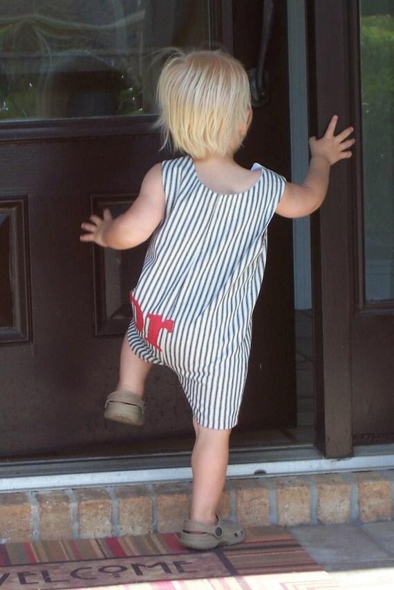 Crabby short all for boys, blue white stripe,  boys, classic boys, summer, ticking, red crab, shortall, jon-jon, red white and blue, patriot