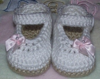 Baby Girl Crochet Mary Janes, Newborn to 12 Months, Made to Order, Free US Shipping