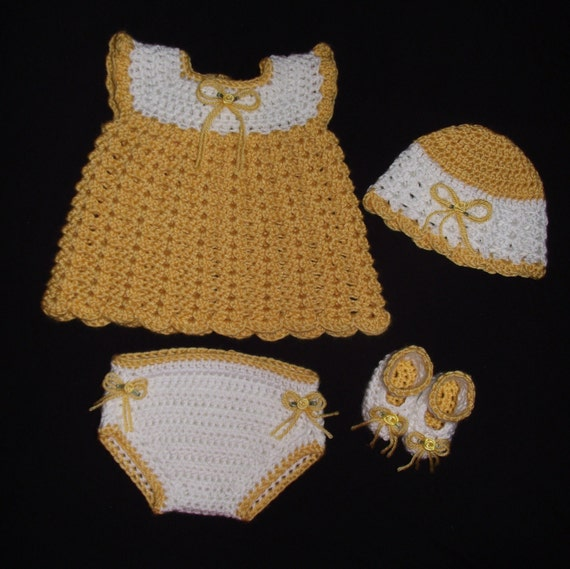 Baby Girl Crochet Diaper Dress Set - Hat, Dress, Diaper Cover, & Booties Size 3 - 6 months (Ready To Be Shipped)