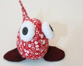 SALE - 50% OFF - beady-eyed fish in red and white cotton print