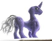 SALE - 50% OFF - purple felt unicorn-ish doll