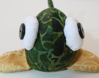 SALE - 50% OFF - beady-eyed fish in green and golden cotton print