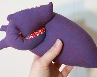 Anatomically correct-ish plush heart - in purple and red cotton
