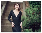 Black 100% Wool Gown with Honeycomb Detail