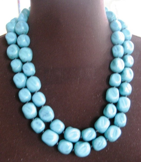 Chunky Teal Beaded Long Necklace - Can Wrap Around Twice