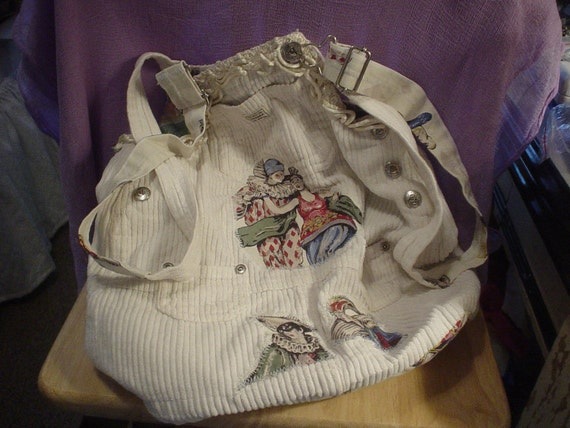 Handmade Corduroy Jumper Shoulder  Bag Bohemian Victorian Country  Child Retro Hippie Book Bag