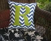 Personalized pillow initial chevron pattern