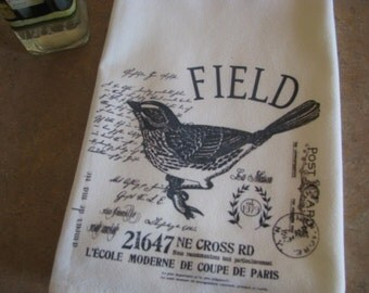 Personalized Tea towel vintage bird Custom Flour Sack