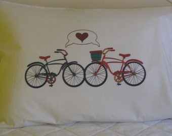 Personalized Pillowcase Wedding Couple Bicycle Love
