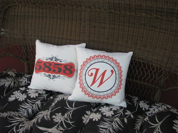 Personalized porch pillow address house number