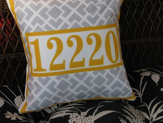 Personalized pillow address house number yellow and gray