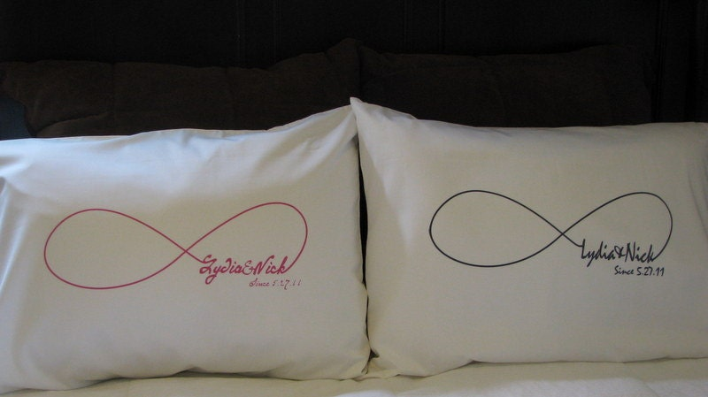Personalized Pillowcase Wedding Couple Infinity Set of by jems1987