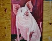 "The Painted Pig- A pig painted on canvas 24""x46"""