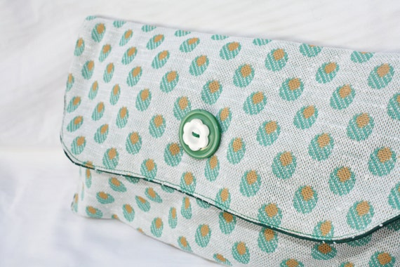 Green spotted upcycled envelope clutch with flower button detail