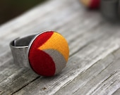 Yellow Grey Red Fabric  Button Ring - Modern  Shapes