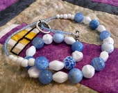 Blue Crackle Agate Bead Necklace, White Glass Bead Necklace, Blue and White Bead Necklace, FREE SHIPPING