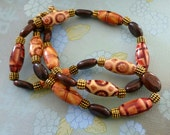 Wood Beads Necklace, Jasper Bead Necklace, Gold Metal Necklace, Earth Tones Necklace, FREE SHIPPING