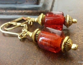 Rose Red Earrings Red Glass Beads Gold Metal