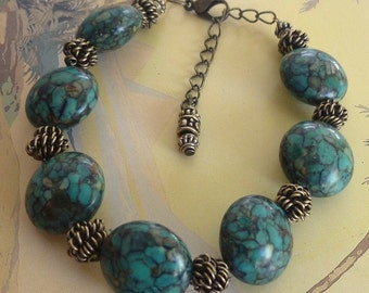 Mosaic Turquoise Bracelet, Antique Gold Metal Beads, Green Turquoise Bracelet, FREE SHIPPING