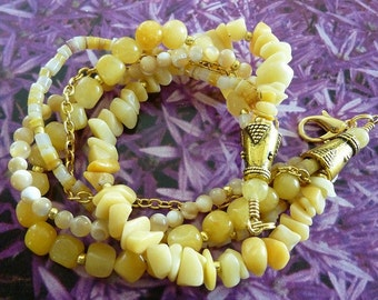 Yellow Jade Bracelet, Multistrand Bracelet, Aventurine, Mother of Pearl, Shell, FREE SHIPPING