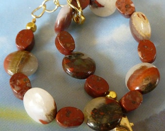 Outback Chic Mookaite Jasper Bracelet Australian Mookaite Jasper Red Orange Cream Purple Pink