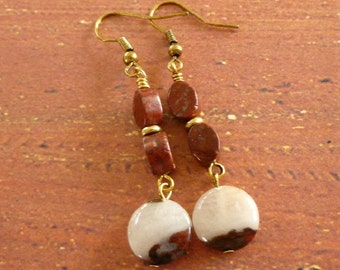 Mookaite Jasper Earrings, Natural Stone Bead Earrings, Dangles, Mookaite Stone Beads, Red Jasper Earrings, FREE US SHIPPING