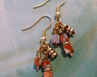 Crazy Lace Agate Bead Earrings, Agate Bead and Gold Metal Bead Earrings, FREE SHIPPING, Natural Stone Bead Earrings