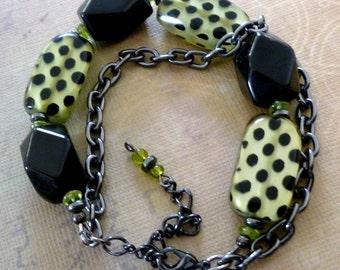 Black and Green Chunky Bracelet, Onyx and Black Spotted Green Acrylic Beads Bracelet, Gunmetal Chain Bracelet, FREE SHIPPING