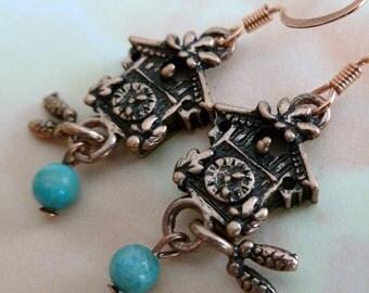 Birdhouse Earrings, Copper Metal Birdhouse Turquoise Jasper Earrings, FREE SHIPPING, Mango Tease, Dangle Earrings
