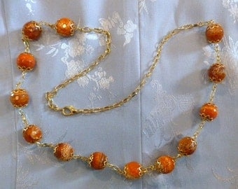 Agate Bead Necklace - Orange Red Agate Necklace, Agate Necklace, FREE SHIPPING, Orange Necklace