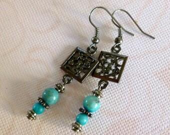 Turquoise Bohemian Earrings, Turquoise Dyed Jade Bead Earrings, Gunmetal Filigree Earrings, FREE SHIPPING