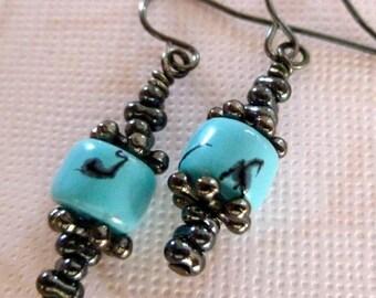 Turquoise Glass Bead Earrings - Turquoise and Gunmetal Earrings, Drop Earrings, FREE SHIPPING