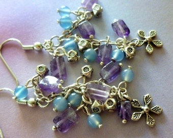 Flower Child Earrings Water Blue Agates Amethyst Stone Chips SIlver Metal Chain