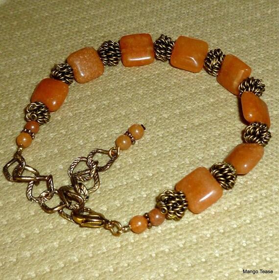 1920 Bracelet - Aventurine Stone Beads Amber Antique Gold Finish Boho