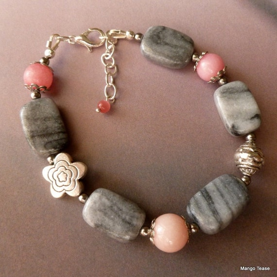 SALE~Agate and Rhodonite Bracelet, Gray Agate Pink Rhodonite Bracelet