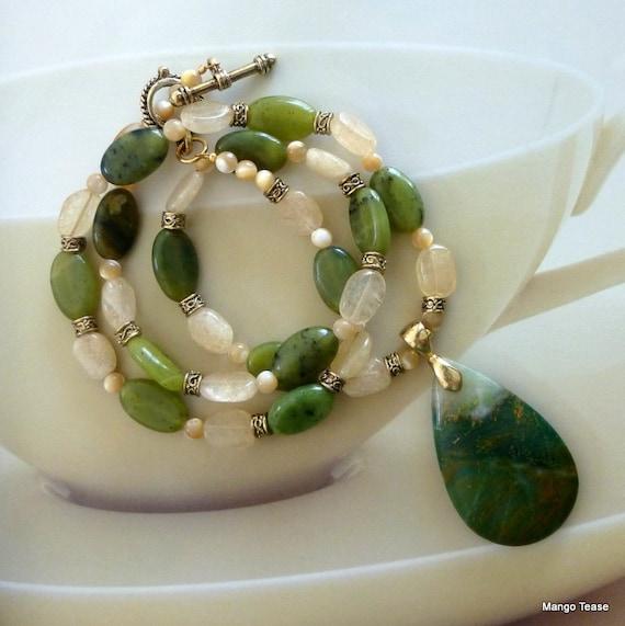 Parlor Games Necklace - Green Nephrite Jade Jasper Cream Quartz Gold