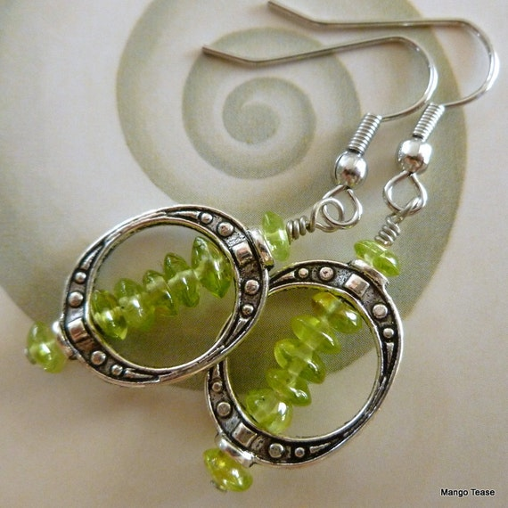 Peridot Earrings - Peridot Chips, Dangles, Gemstone Earrings, FREE SHIPPING